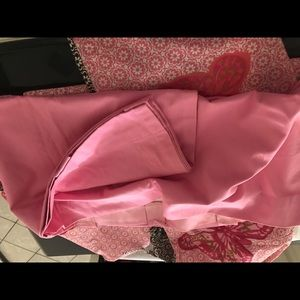 Baby girl crib skirt and pink drapes